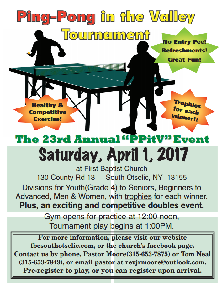 Tournaments Mohawk Valley Table Tennis Club